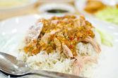 Thaise kip eten met rijst — Stockfoto