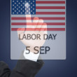 Business hand pushing 5 September Labor day. — Stock Photo