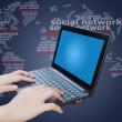 Laptop with social network — Stock Photo