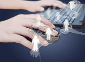 Hand pushing laptop mouse with social network — Stock Photo