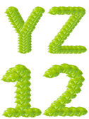 Green leaf Y Z 1 2 alphabet character. — Stock Photo