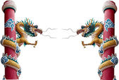 Chinese style dragon statue isolated on white — Stock Photo