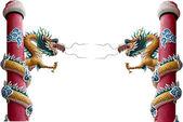 Estátua de dragão de estilo chinês isolada no branco — Foto Stock
