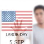 Asian businessman pushing USA flag map — Stock Photo #11624494