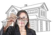 Asiatiska affärer lady skriva hemma plan — Stockfoto