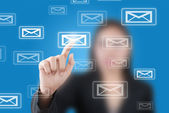 Asian business lady pushing mail for social network — Stock Photo