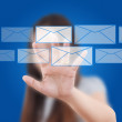 Asian business lady pushing mail for social network. — Stock Photo