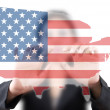 Asian business lady pushing USA flag map — Stock Photo #11635248