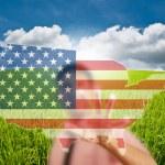 Asian business man pushing USA flag map — Stock Photo #11652253