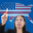 Asian business lady pushing USA flag map — Stock Photo #11714800