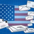 Social network communication with USA flag — Stockfoto