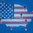 Social network communication with USA flag — Stock Photo