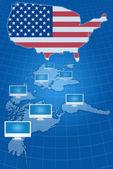 Comunicação de rede social com bandeira eua — Foto Stock