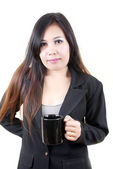 Business Asian lady putting coffee cup — Stock Photo