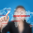 Asian business lady pushing map social network communication — Stock Photo #11723827