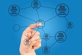 Hand pressing social network communication — Stock Photo