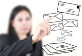 Business lady pressing mail world wide for social network communication — Fotografia Stock
