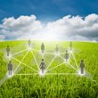 Social network communication on the blue sky field — Stock Photo