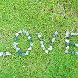 Green grass texture background with love word — Stock Photo