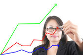 Business female write strategic planning on the whiteboard — Stock Photo