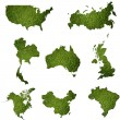 Many world map with grass field - Stock Photo
