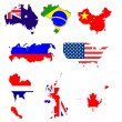 Many world maps with flag symbol — Stock Photo