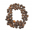 Coffee beans number 0 isolated on the white. — Stok fotoğraf
