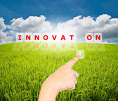 Hand pressing I for innovation word on the blue sky in the monitor isolate. — Stock Photo