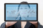 Business lady pushing keyboard button on tablet screen. — Stock Photo
