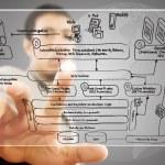 Businessman pushing web service diagram on the whiteboard. — Stock Photo