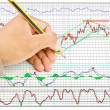 Hand write finance graph for trade stock market on the whiteboard. — Stock Photo