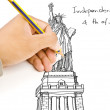 Hand drawing Statue of Liberty line. — Stock Photo
