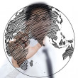 Businessman Drawing World Map Globe line on the whiteboard. — Stock Photo