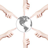 Concept Hand point world globe line. — Stock Photo