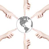 Konzept hand zeigen globus weltlinie. — Stockfoto