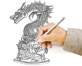 Hand drawing chinese style dragon statue line. — Stock Photo