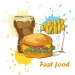 Fast food background - Stock Vector