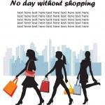 Fashion shopping girls illustration — Stock Vector
