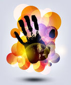 Black print of a hand — Stock Vector