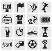 Ikony ustaw piłka nożna — Wektor stockowy