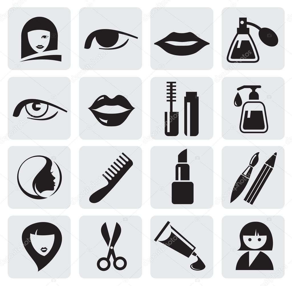 Makeup Icon Vector Vector Icons Pack Black