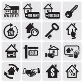 Inmobiliaria iconos — Vector de stock