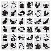 Conjunto de frutas e produtos hortícolas — Vetorial Stock