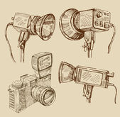 Hand drawn camera — Stock Vector