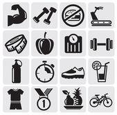 Icone di fitness — Vettoriale Stock