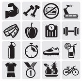 Fitness ikony — Wektor stockowy