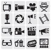 Movie icons set — Stock Vector