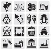 Iconos de carnaval — Vector de stock