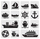 Bateau et navire ensemble d'icônes — Vecteur