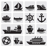 Conjunto de iconos barco y barco — Vector de stock
